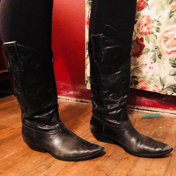 Designer Black Leather Cowboy Boots